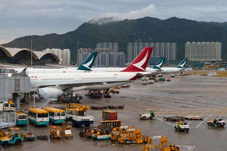 Hong Kong - October 6, 2019: Airplane tail of Cathay Pacific and Cathay Dragon.
