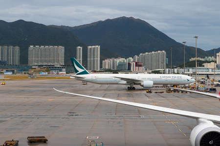 Hong Kong - October 6, 2019: Cathay Pacific Boeing 777 at Hong Kong International Airport tarmac. Registration: B-KQJ