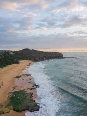 Aerial view of Turimetta Beach, Sydney in the morning.