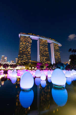 Singapore - February 7, 2020: Blue and purple lights up of Future of Us exhibition at Gardens by the Bay.