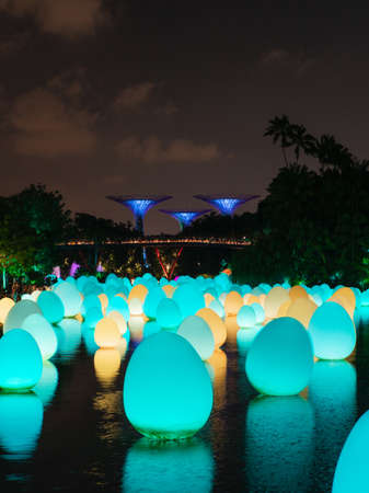 Singapore - February 7, 2020: Cyan and yellow lights of Future Together exhibition at Gardens by the Bay. Editorial