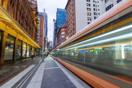 Sydney, Australia - March 14, 2020: Motion of tram passing through George St at Sydney CBD.