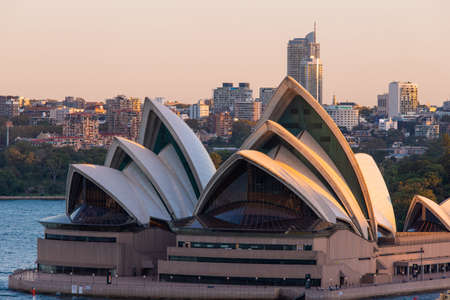 Sydney, Australia - March 20, 2020: Close-up view of the front side of Sydney Opera House.