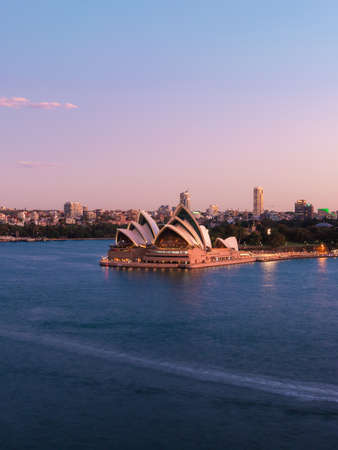 Sydney, Australia - March 20, 2020: Sydney Opera House view with clear sky at dusk.