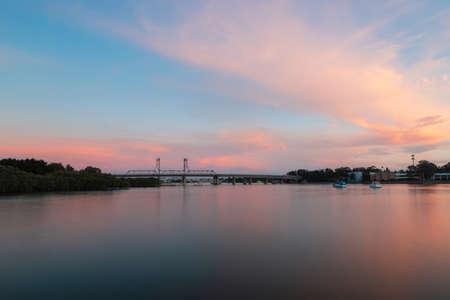 Sunset view at Parramatta River around Ryde area, Sydney, Australia. Stock Photo