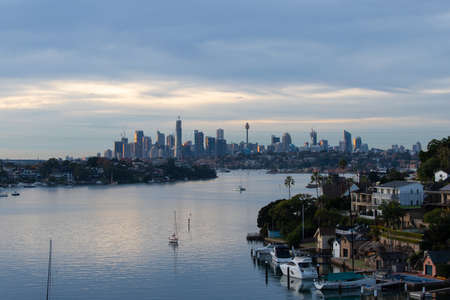 Sydney, Australia - May 20, 2020: Cloudy morning view over Sydney CBD skyline. Editorial
