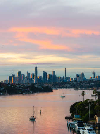 Sydney, Australia - May 20, 2020: Colorful clouds over Sydney CBD skyline in the morning.