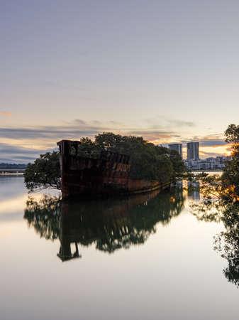 SS Ayrfield shipwreck located in Homebush Bay, Sydney, Australia. Stock Photo