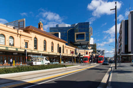 Newcastle, Australia - July 29, 2020: View of trams at Hunter St during the day. Redakční