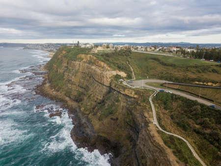 Aerial view of Newcastle coastline, Australia.