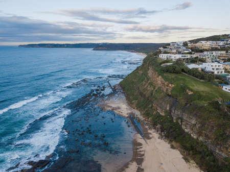 Aerial view of Merewether Beach coastline, Newcastle, Australia.