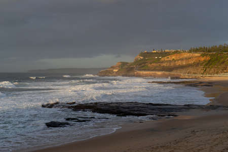 Overcast morning at Newcastle Beach, Australia. Stock Photo