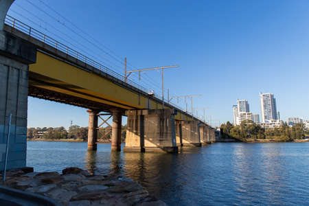 Sydney, Australia - August 14, 2021: John Whitton Bridge above Parramatta River.