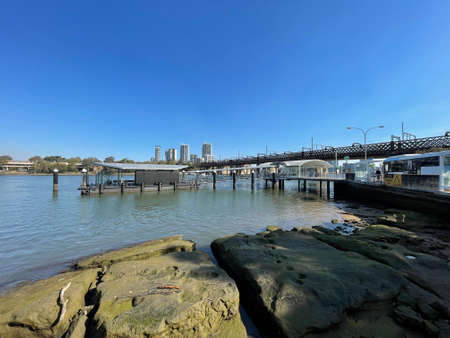 Sydney, Australia - August 21, 2021: Meadowbank ferry wharf view during the day.