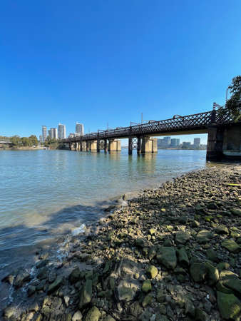 Sydney, Australia - August 21, 2021: John Whitton bridge view over Parramatta River.