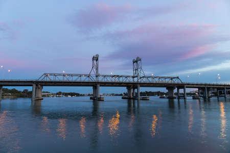 Ryde Bridge view with sunset clouds, Sydney, Australia.