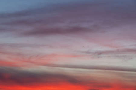 Intense red colour on the sky during sunset.