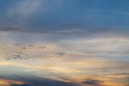 Cloudy sunset sky at sunset time. Standard-Bild
