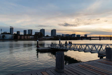 Sydney, Australia - August 30, 2021: Few people walking around Ryde wharf. Editorial