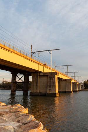 Sydney, Australia - September 9, 2021: John Whitton Bridge under the sunset light. Editorial
