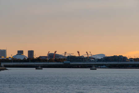Sydney, Australia - September 9, 2021: Sunset view over the stadium at Sydney Olympic Park. Editorial