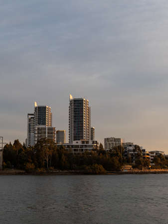 Skyscraper view of Rhodes skyline, Sydney, Australia.