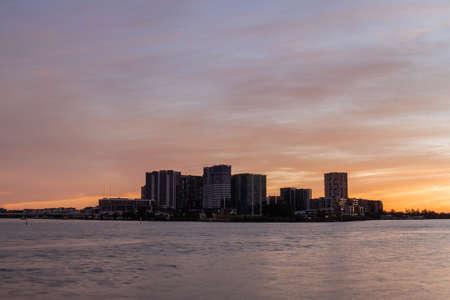 Wentworth Point skyline view across Parramatta River, Sydney, Australia.