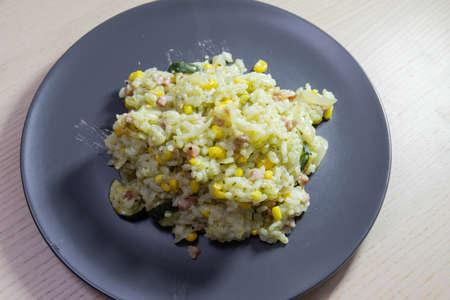 A plate of pesto risotto. Standard-Bild