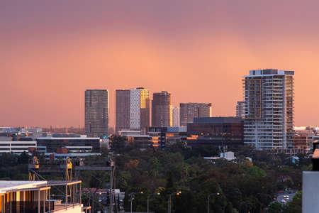 Sydney, Australia - October 1, 2021: Sunset view of Rhodes building skyline. Editorial