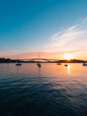 Sydney, Australia - October 8, 2021: Sunset view of Gladesville Bridge.