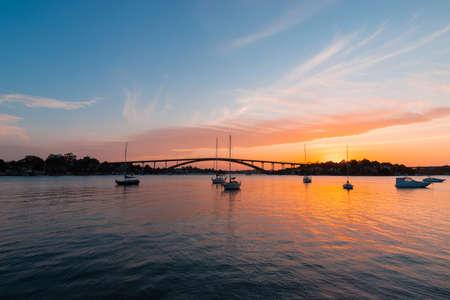 Sydney, Australia - October 8, 2021: Beautiful sunset view of Gladesville Bridge.