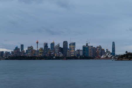 Sydney, Australia - October 12, 2021: Overcast view of Sydney CBD skyline.