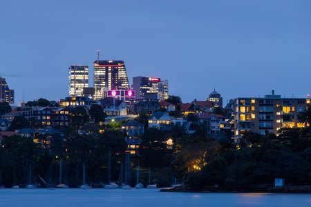 Sydney, Australia - October 12, 2021: North Sydney building waterfront view at night.