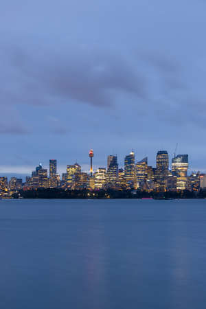 Sydney, Australia - October 12, 2021: Sydney CBD skyline at dusk. Editorial