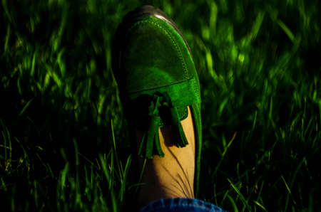 Green suede loafers on grass background. Bokeh. Horizontal
