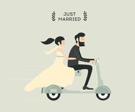 just: Just married wedding couple riding motorcycle