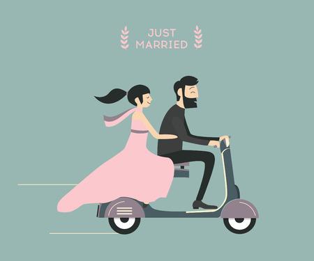 wedding couple: Just married wedding couple riding motorcycle