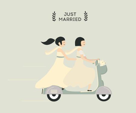 motobike: Just married lesbian wedding couple riding motobike