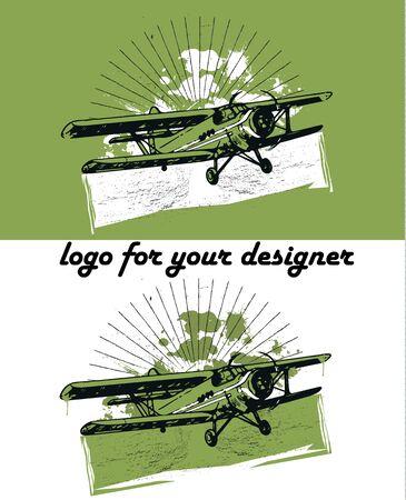 biplane: Retro biplane vintage illustration set, logo background Illustration