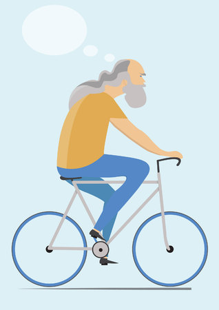 mature: Mature man riding bicycle with thought bubble, flat icon