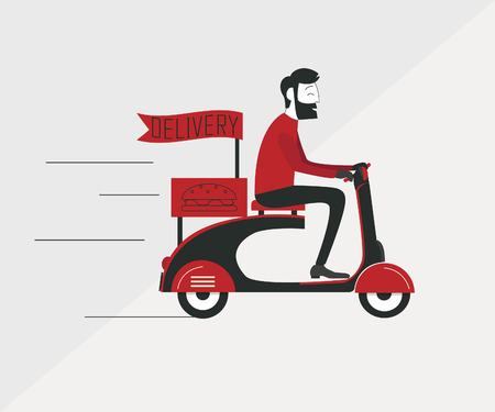 courier: Delivery man courier worker riding scooter Illustration