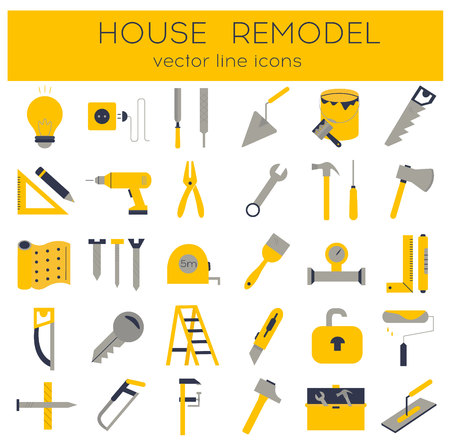 Modern flat line tools icons set for home improvement Stock Illustratie