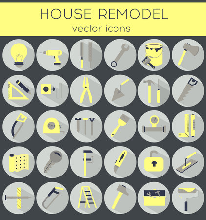 putty knife: Modern flat line tools icons set for home improvement Illustration
