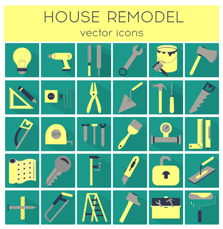 Modern flat line tools icons set for home improvement