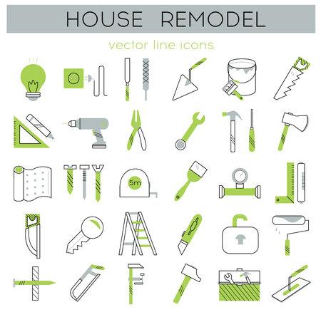 home improvement: Modern flat line tools icons set for home improvement Illustration