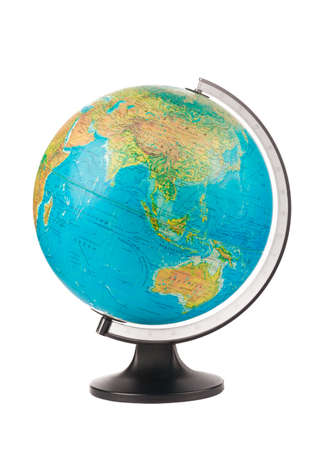 Globe on a white background. Closeup. Zdjęcie Seryjne