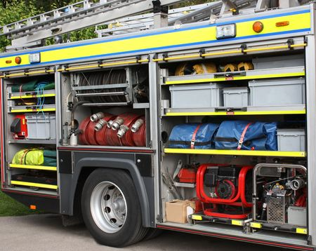 The Rescue Equipment Stored in a Fire Engine.