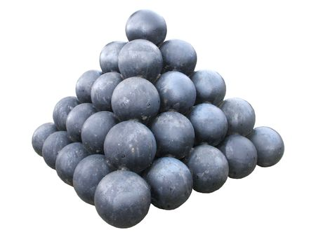 A Collection of Iron Cannon Balls.