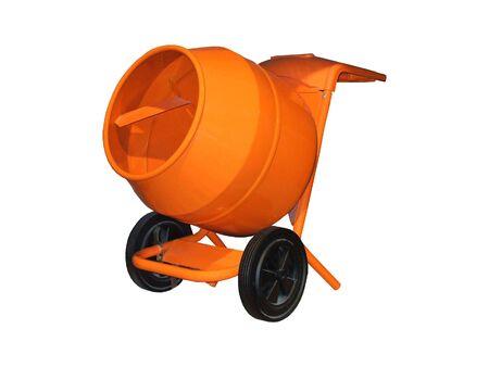 A Bright Orange Portable Cement Mixer.