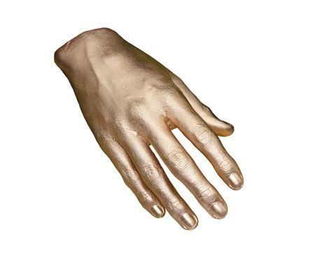 Un modèle peint en or d'une main droite. Banque d'images
